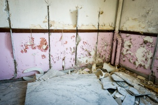 Marble and pink walls.