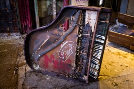 This destroyed piano is both interesting and sad to see.